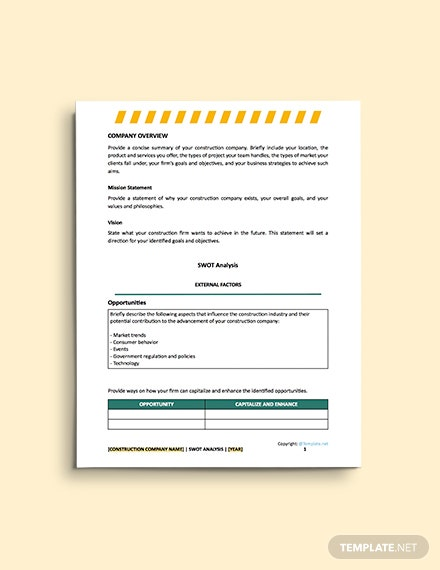 free construction blank Swot Analysis Template