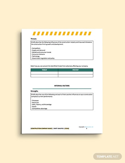 free construction blank Swot Analysis format
