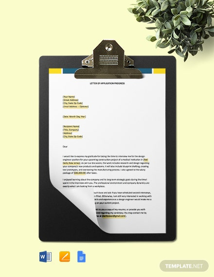 Construction Progress Application Letter Template