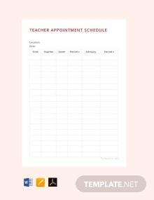 Free Teacher Appointment Schedule Template