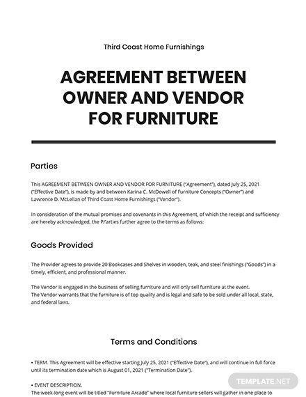 Agreement Between Owner and Vendor for Furniture Template