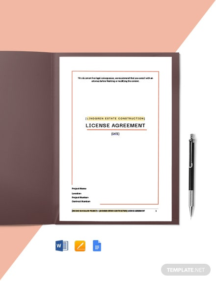 Construction License Agreement Template