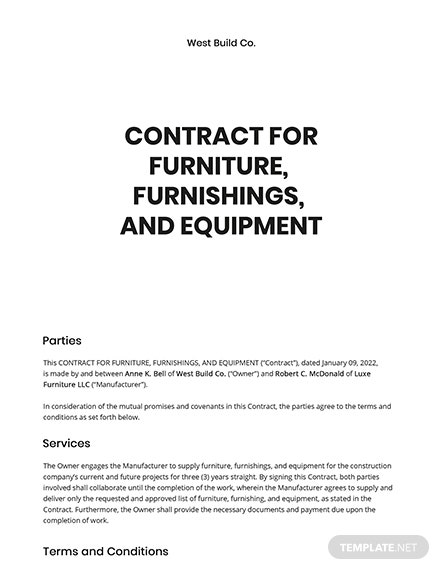 Contract for Furniture, Furnishings and Equipment Template