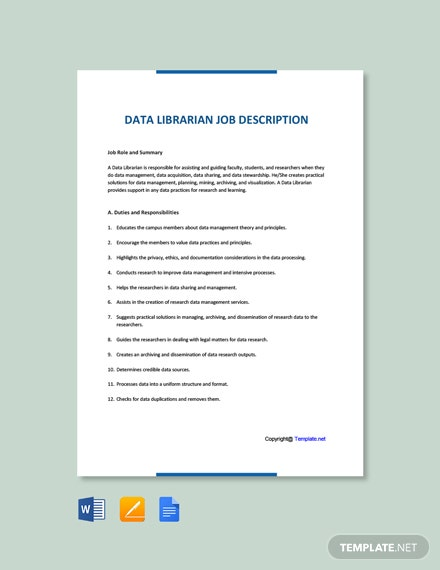 Free Data Librarian Job Description Template