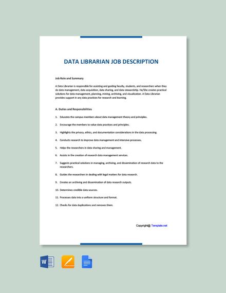 Free Data Librarian Job Description Template