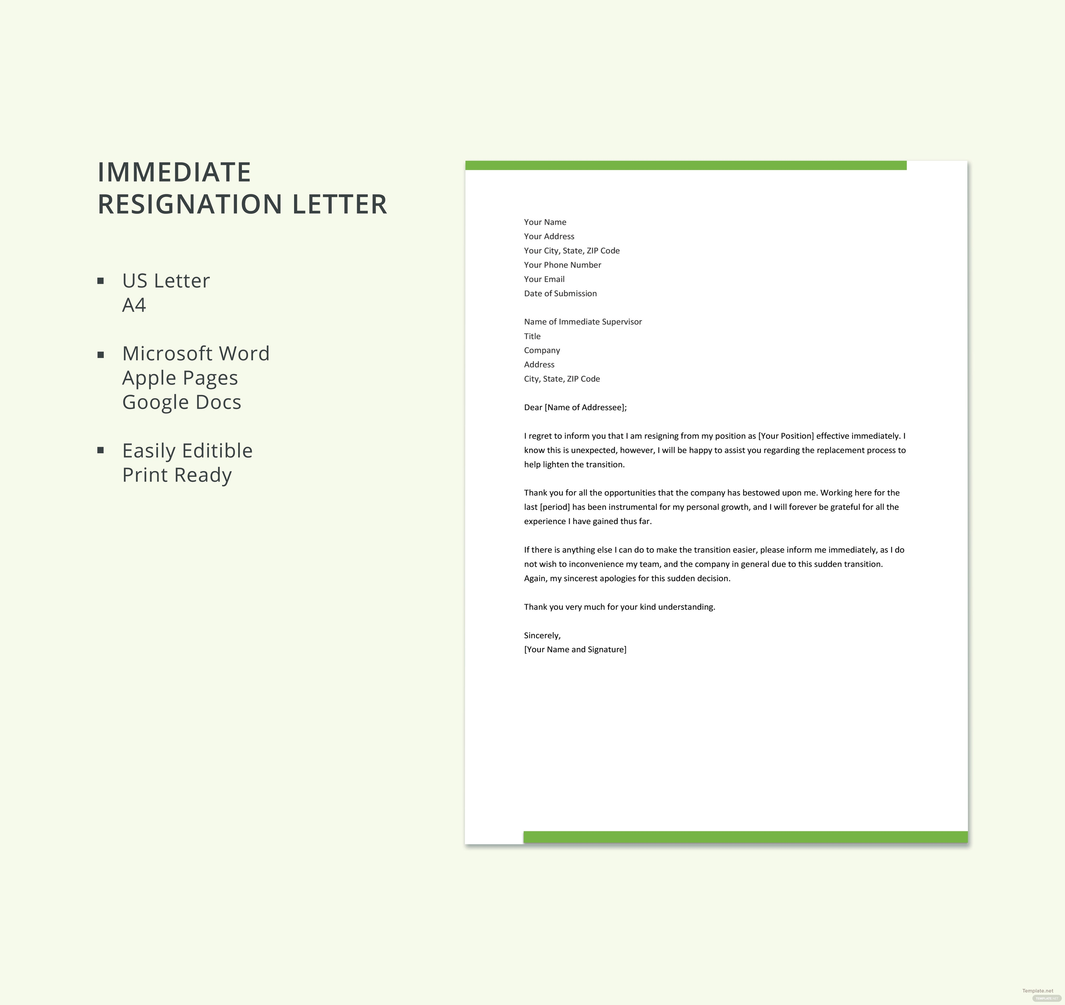 Immediate resignation letter template in microsoft word apple immediate resignation letter template aljukfo Images