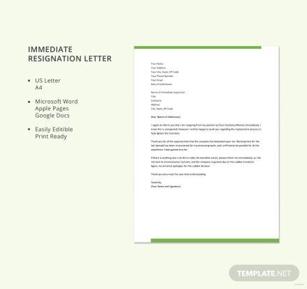 Free Immediate Resignation Letter Template