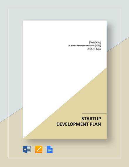 Startup Development Plan Template