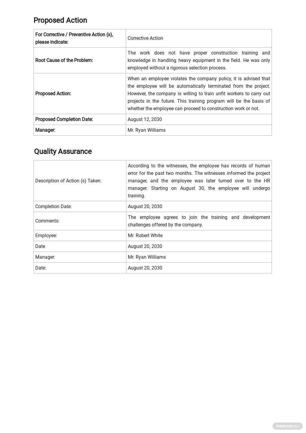FREE Construction Corrective Action Report Template - Google Docs, Word