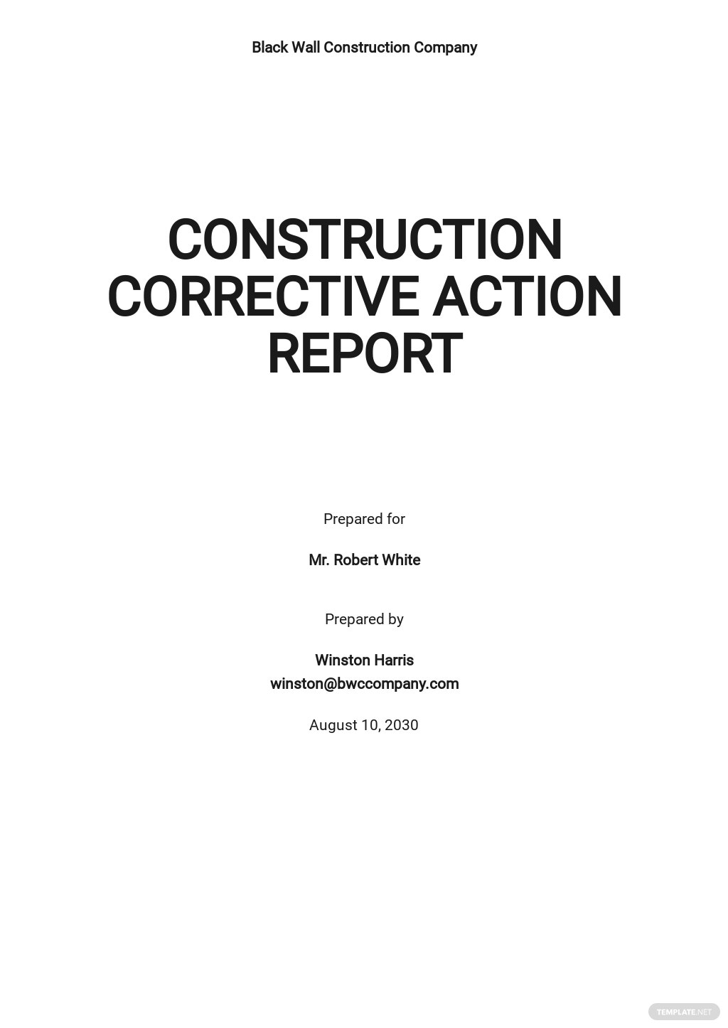 Construction Corrective Action Report Template