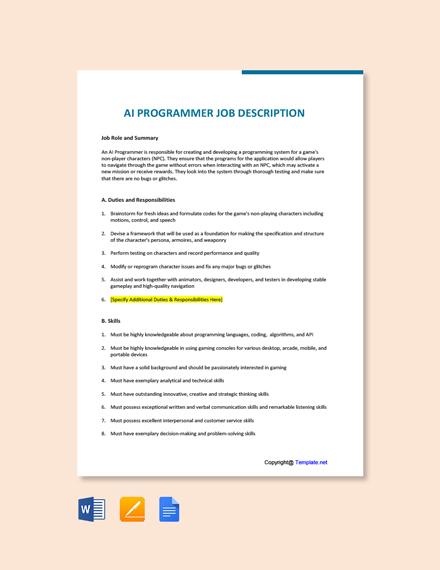 Free AI Programmer Job Description Template
