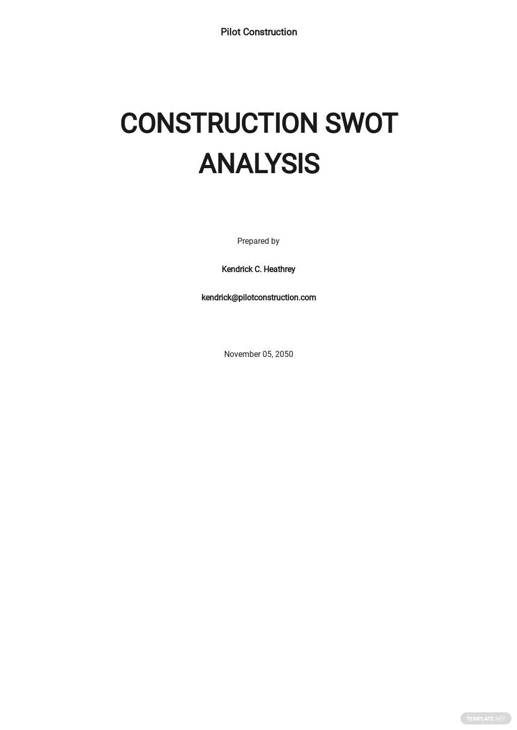 Construction Basic SWOT Analysis Template