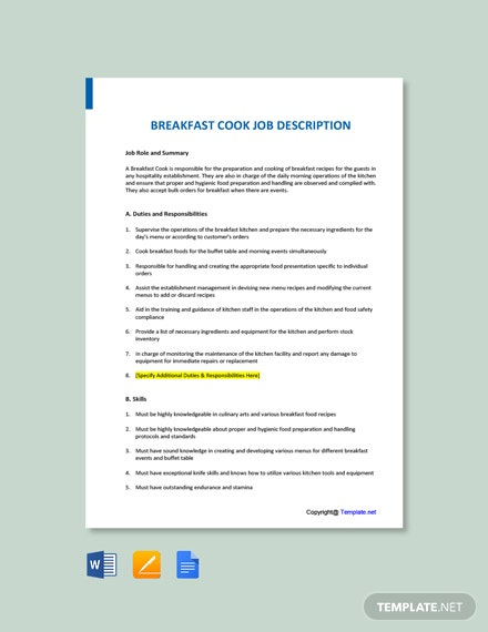 Free Breakfast Cook Job Description Template