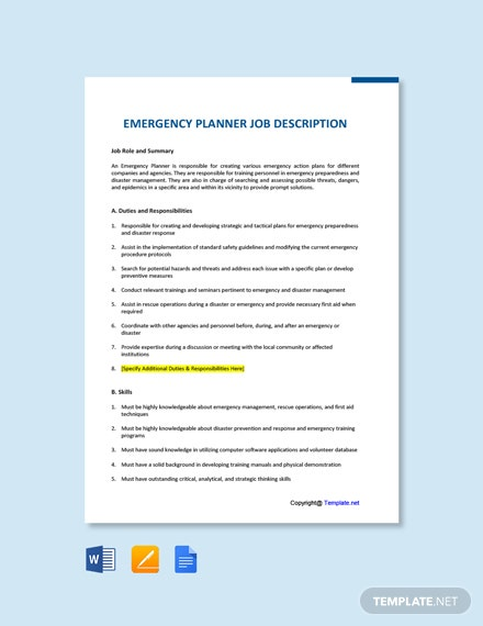 Free Emergency Planner Job Description Template