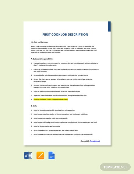 Free First Cook Job Description Template