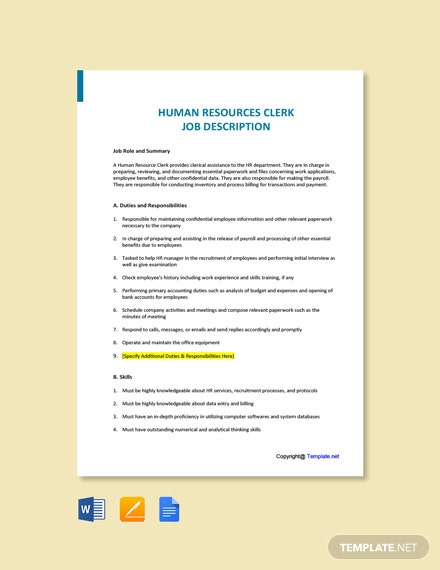 Free Human Resources Clerk Job Description Template
