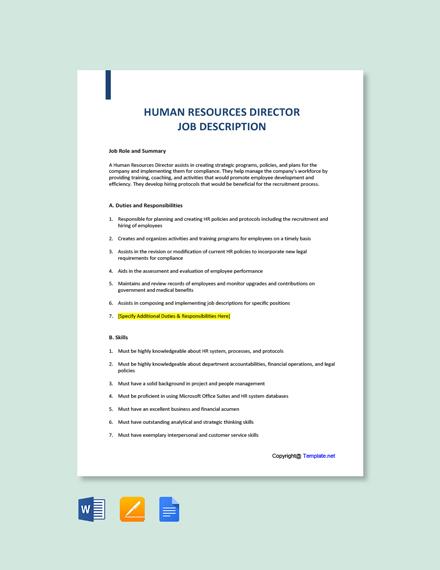 Free Human Resources Director Job Description Template