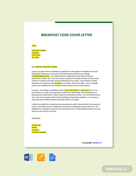 Free Breakfast Cook Cover Letter Template