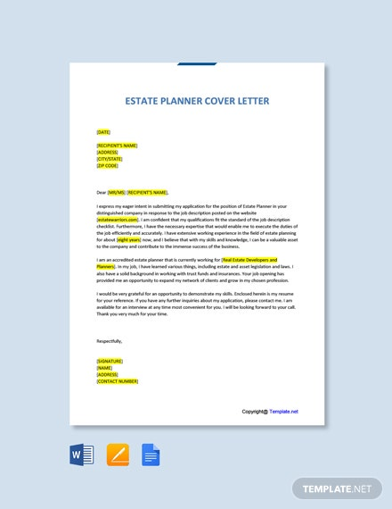 Free Estate Planner Cover Letter Template