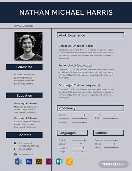 Free Modern Resume Template Word Psd Indesign Apple