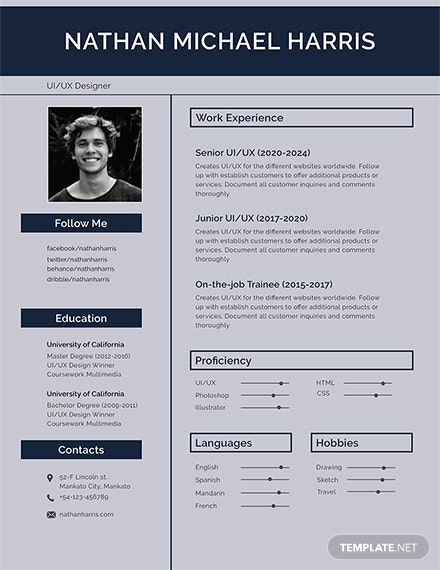 resume templates modern 187 free resume templates ready made 24466 | Modern Resume Template 1X