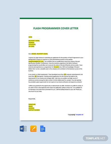 Free Flash Programmer Cover Letter Template