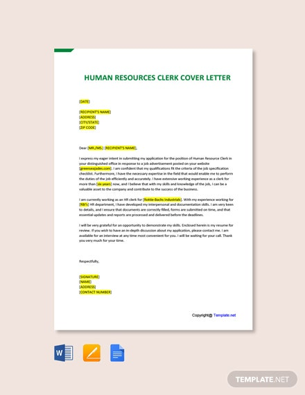 Free Human Resources Clerk Cover Letter Template
