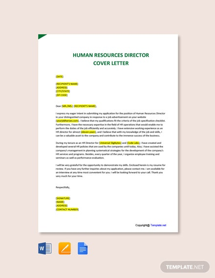 Free Human Resources Director Cover Letter Template