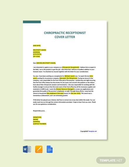 Free Sample Chiropractic Receptionist Cover Letter Template