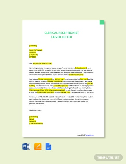 Free Simple Clerical Receptionist Cover Letter Template