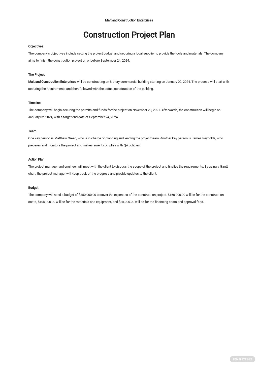 One Page Construction Project Plan Template.jpe