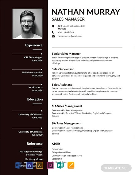 FREE Sales Manager Resume Template - Word | PSD | InDesign ...