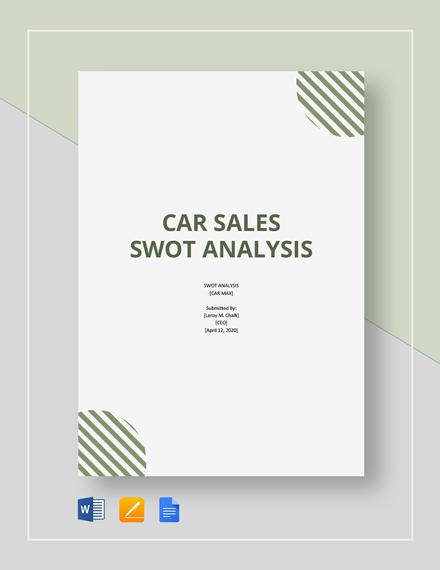 Car Sales SWOT Analysis Template