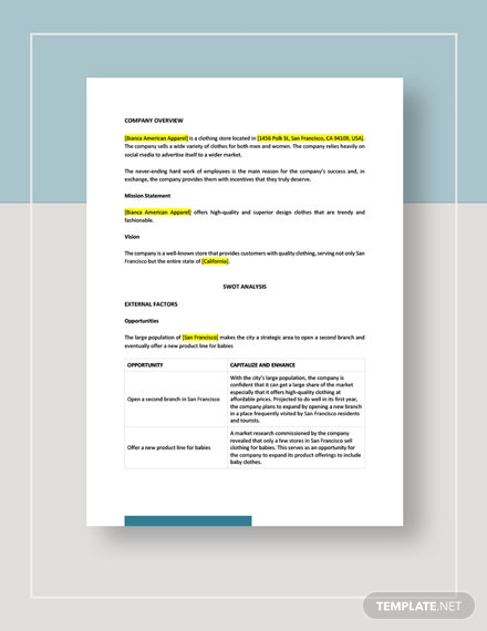 Clothing store swot analysis Template