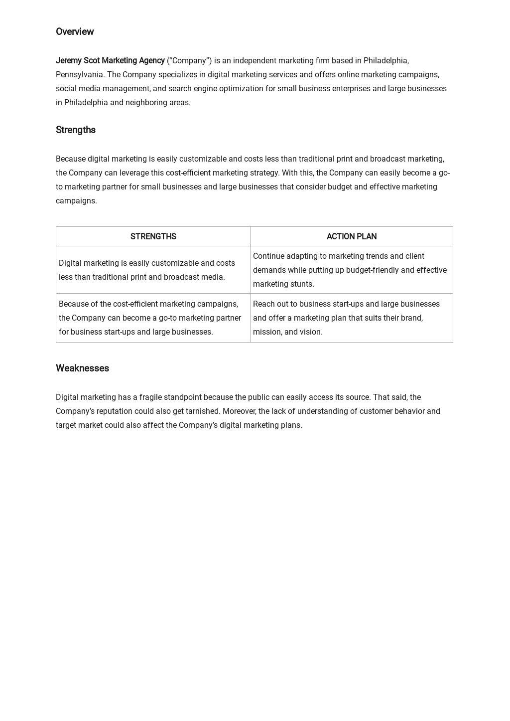 Digital marketing agency swot analysis template 1.jpe