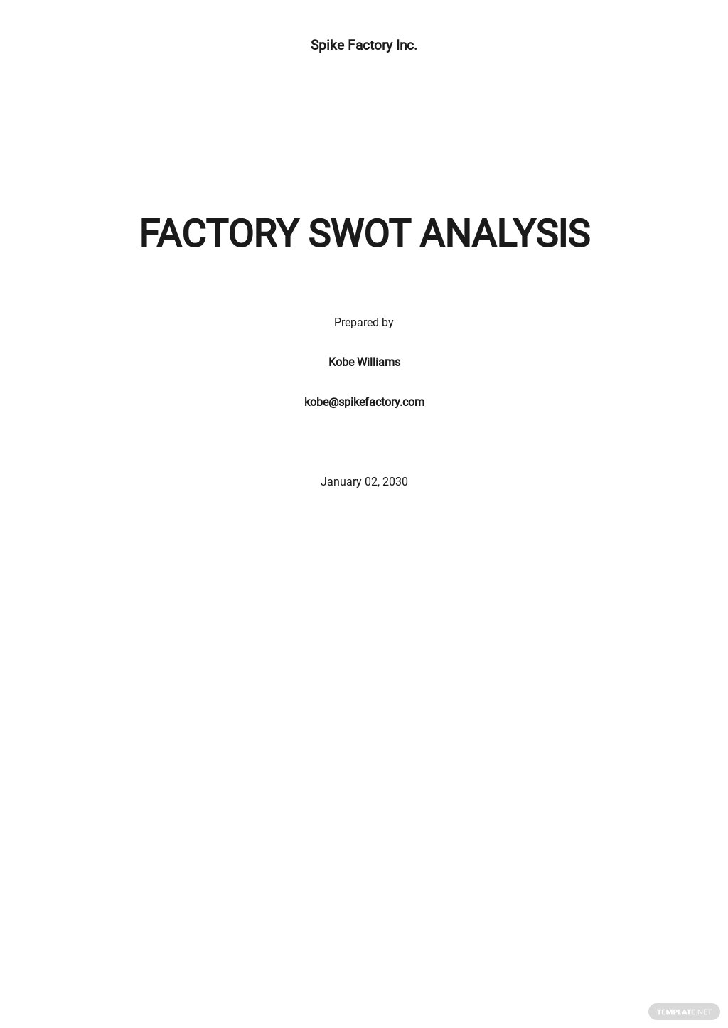 Factory Swot Analysis Template