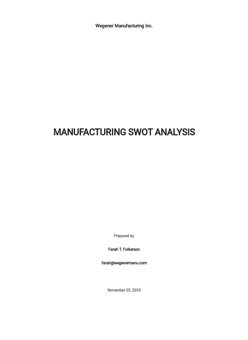 Manufacturing swot analysis template