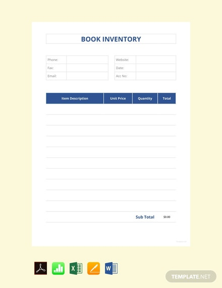 Free Book Inventory Template