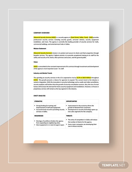 Security services competitive analysis Template