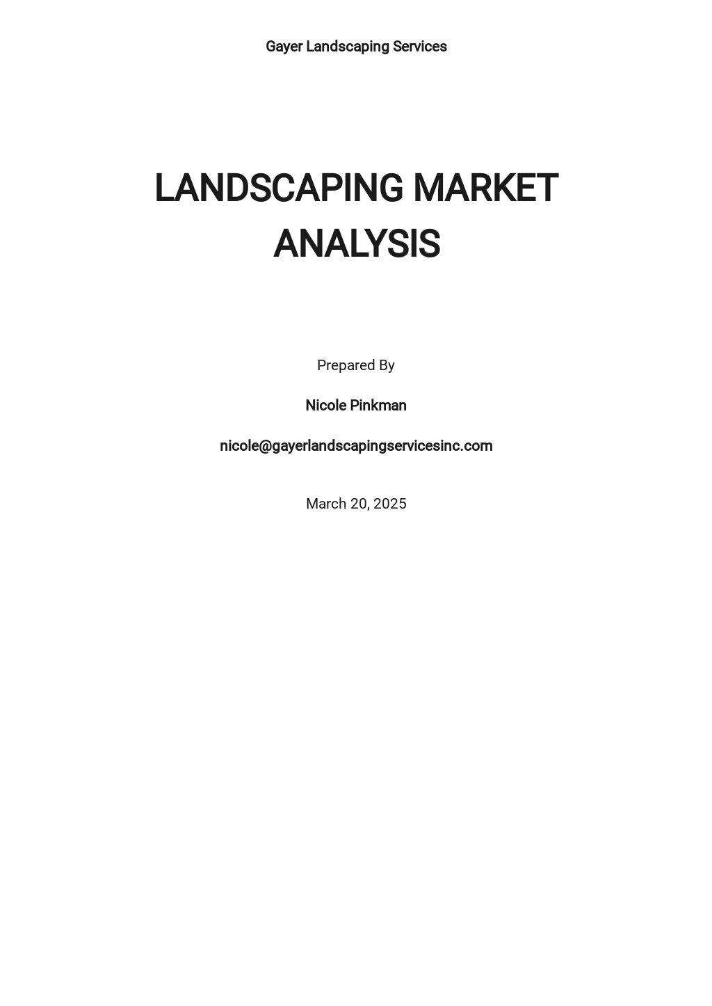 Simple Market Analysis Template