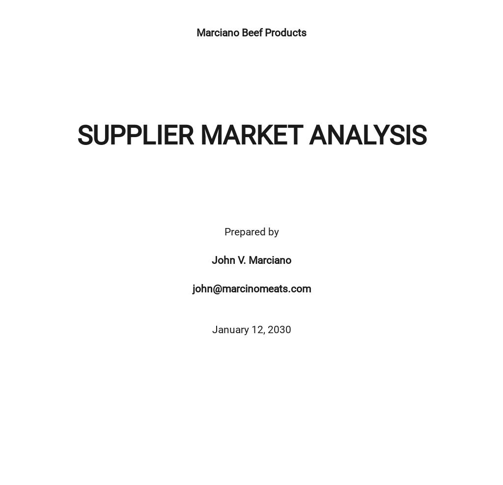 Supplier Market Analysis Template