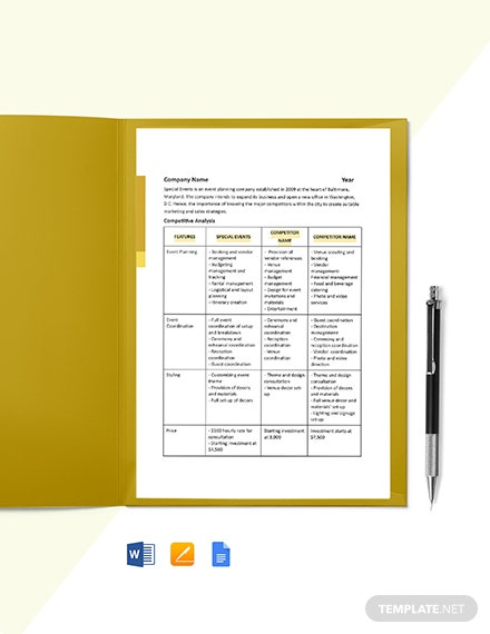 One Page Construction Competitive Analysis Template