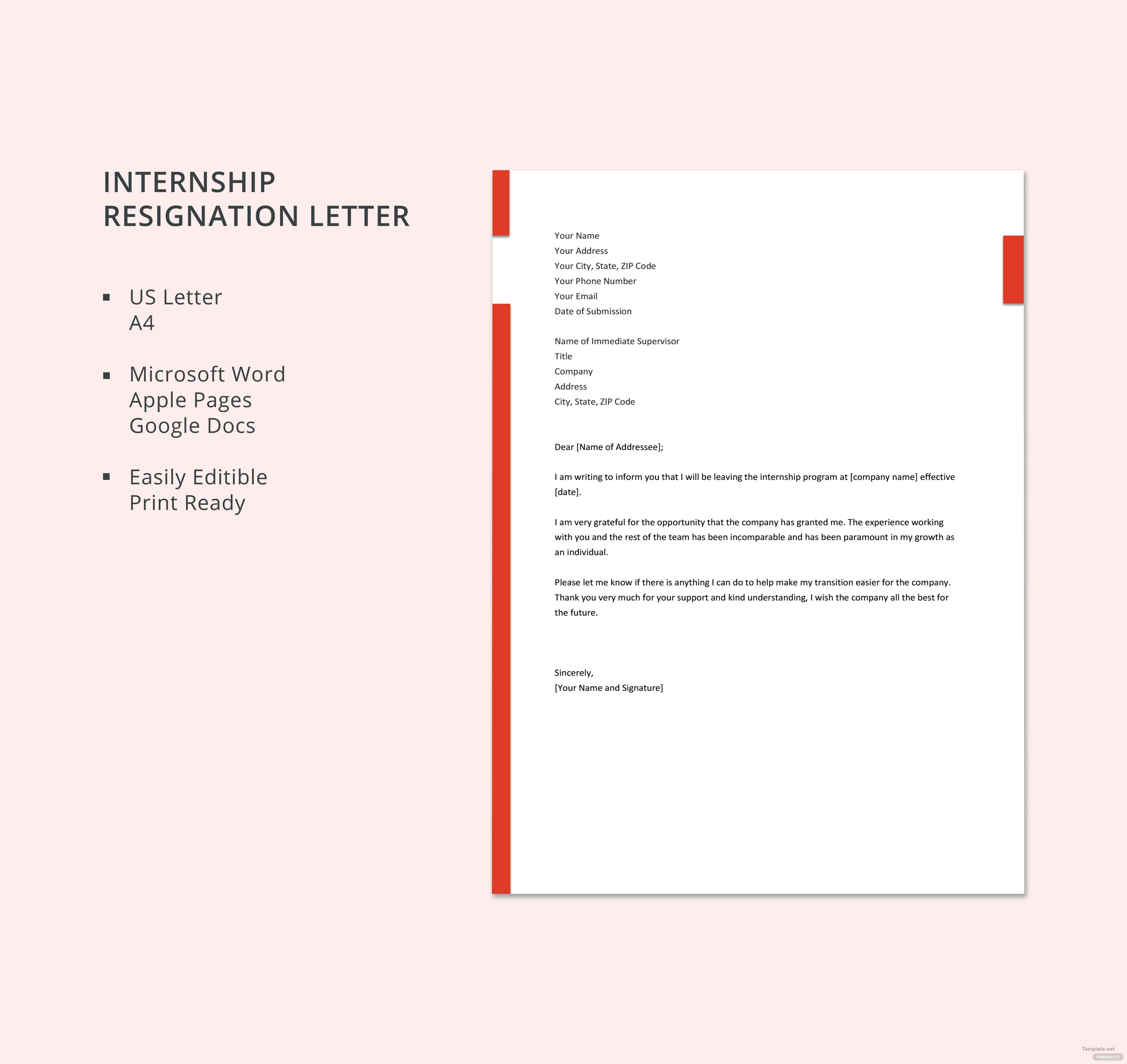 Free internship resignation letter template in microsoft word apple free internship resignation letter template spiritdancerdesigns Gallery