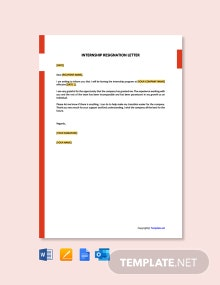 Free Internship Resignation Letter Template