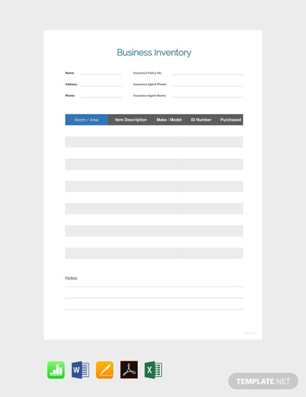 Free Simple Business Inventory Template