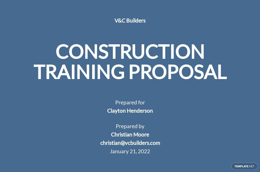 One Page Construction Training Proposal Template