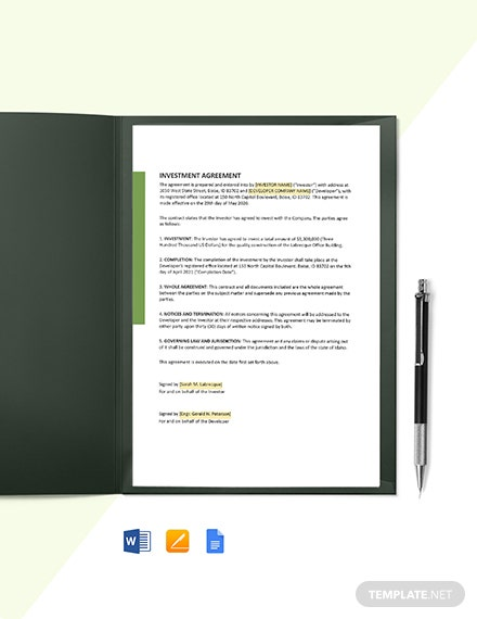 One Page Construction Investment Agreement Template