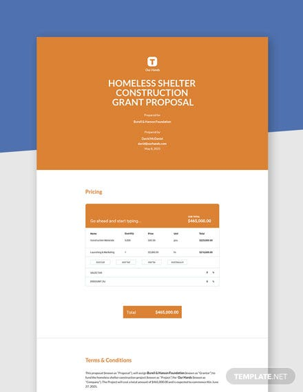 Editable One Page Construction Grant Proposal Template
