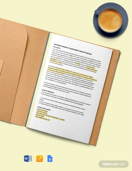 One Page Construction Grant Proposal Template
