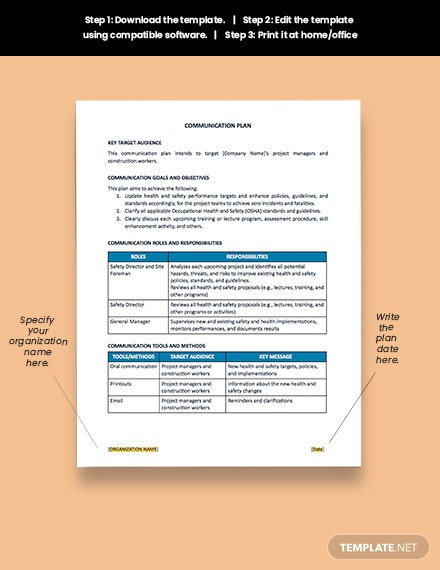One Page Construction Communication Plan Download